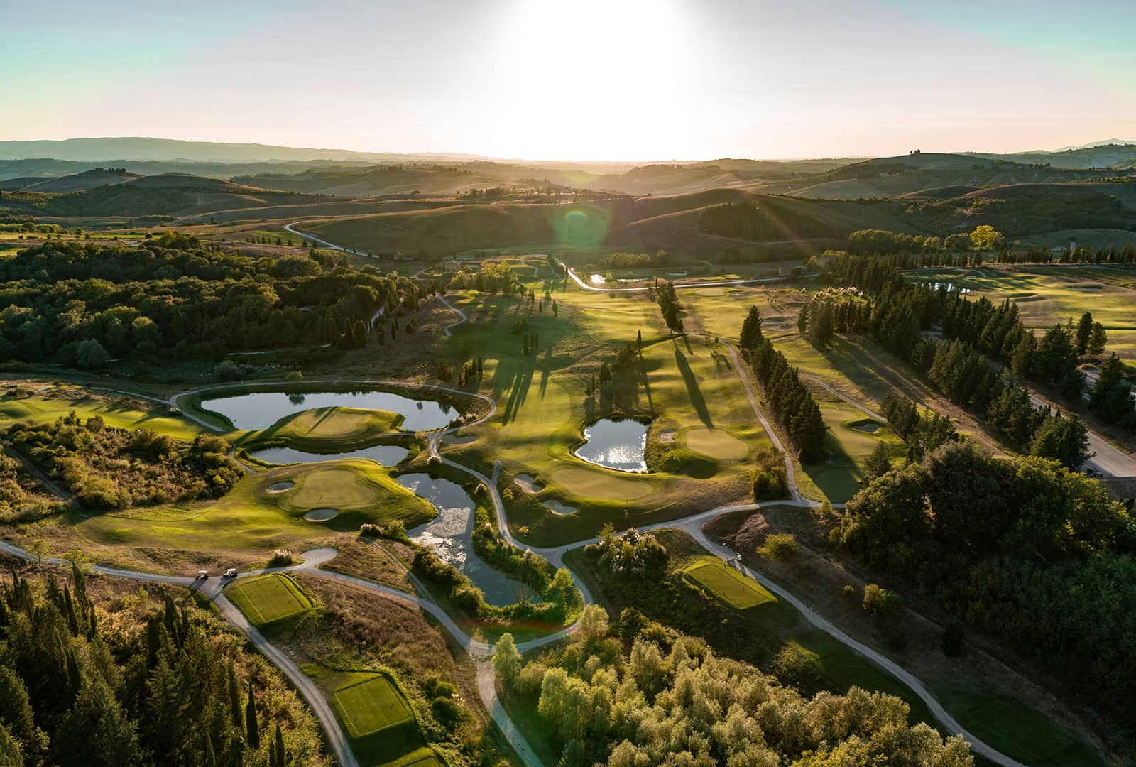 Aerial view of the biggest Golf Course in Tuscany. Toscana Resort Castelfalfi