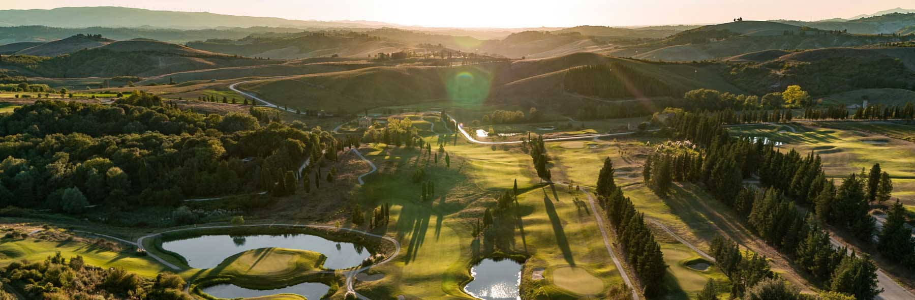 Biggest golf course in Tuscany, aerial view. Toscana Resort Castelfalfi